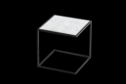Side Table NOA Steel Frame & Marble | Black & White
