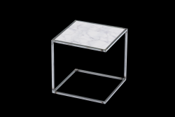 Side Table NOA Untreated Steel Frame & Marble | White