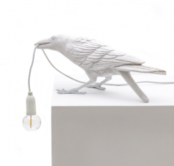 Lamp Bird Playing | White