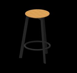 Barhocker Belem 65 cm Stahl pulverbeschichtet / Eichenholz