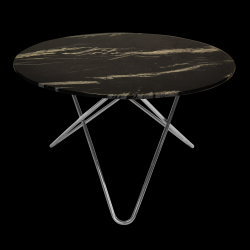 Big O Table | Black Marquina/Stainless Steel