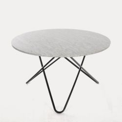 Big O Table | White Carrara/Black Steel