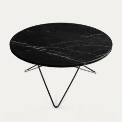 O Table | Black Marble/Black Steel