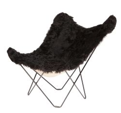 Butterfly Chair Icelandic Sheepskin | Shorn Black / Black Frame