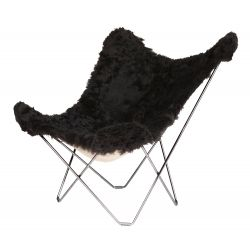 Butterfly Chair Icelandic Sheepskin | Shorn Black / Chrome Frame