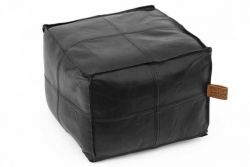 Hudson Square Black Leather Pouf
