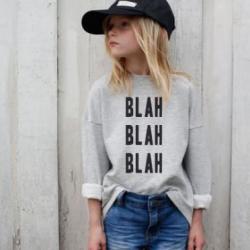 Kinder-Pullover Blah Blah Blah Blah | Grau