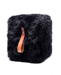 Square Sheepskin Pouf | Black