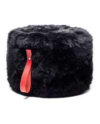 Round Sheepskin Pouf | Black