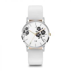 Frauen-Uhr Bloom 34 Leder | Silber/Weiß