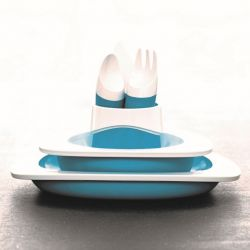 Set of Plate, Bowl, Cup & Kids Cutlery | Blue