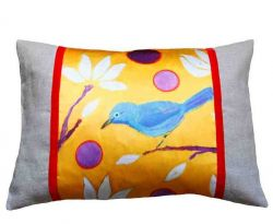 Rectangular Design Pillow Blue Bird