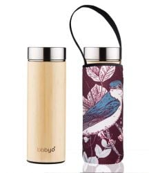 Bamboo Tea Flask Double Wall & Carry Pouch | Blue Bird