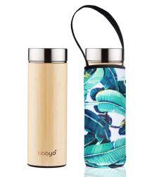 Bambusteeflasche Doppelwand & Tragehülle | Bananenblatt