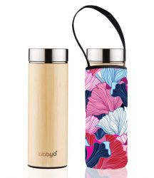 Bamboo Tea Flask Double Wall & Carry Pouch | Fan