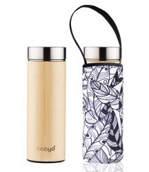 Bamboo Tea Flask Double Wall & Carry Pouch | Feather