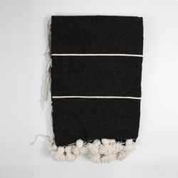 Tassel Cotton Stripe Blanket Small | White/Black