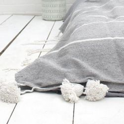 Tassel Cotton Stripe Blanket Small | Grey