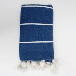 Tassel Cotton Stripe Blanket Small | Indigo