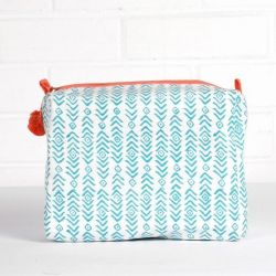 Aztec Print Wash Bag | Aqua & Peach