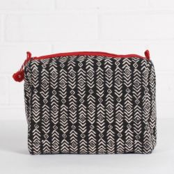 Aztec Print Wash Bag | Black & Hibiscus