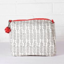 Aztec Print Wash Bag | Grey & Coral
