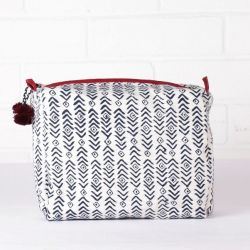 Aztec Print Wash Bag | Indigo & Plum