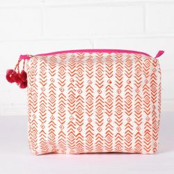 Aztec Print Wash Bag | Orange & Pink