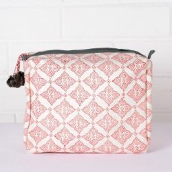 Tile Print Wash Bag | Coral & Grey