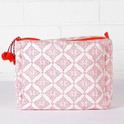 Tile Print Wash Bag | Hot pink & Orange