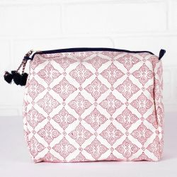 Tile Print Wash Bag | Plum & Indigo