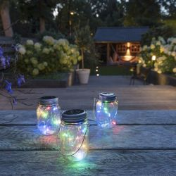 Solar Lighting in Jar Coloured | Set of 3