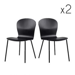 Lingua Dining Chair | Black Lacquered Steel Legs / Black Lacquered