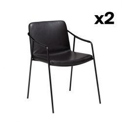 Set of 2 Armchairs Boto | Vintage Black PU Leather & Black Legs