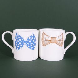 Bow Tie Mugs Blue & Mustard | Set of 2