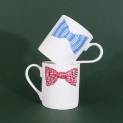 Bow Tie Mugs Blue & Pink | Set of 2