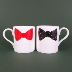 Bow Tie Mugs Black & Red | Set of 2