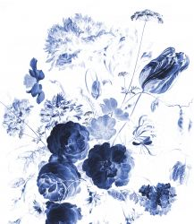Wandtapete XL Royal Blue Flowers