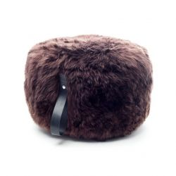 Round Sheepskin Pouf | Brown