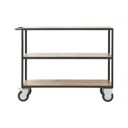 Shelving Unit 4 Wheels 98 cm | Black/Wood