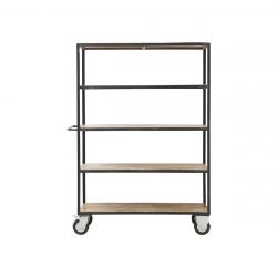 Shelving Unit 4 Wheels 175 cm | Black/Wood