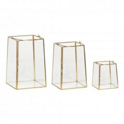 Glass Lantern | Set of 3 | Brass