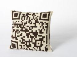 Bar-code 2D Cushion Dark Brown