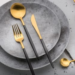 Cutlery Set Shangai | Gold + Black