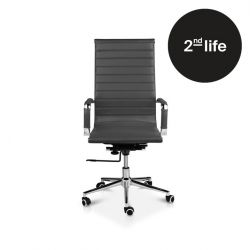 2tes Leben | Bürostuhl Brisbane Leder | Dunkelgrau