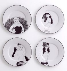 A set of 4 Burlesque Decorative Plates Small
