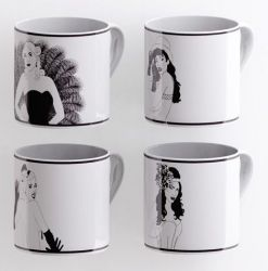 A set of 4 Burlesque Mugs