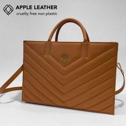 Geschäftstasche - Apfel-Leder Stiche | Ingwer-Braun