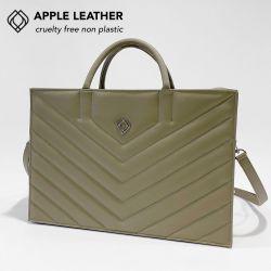Geschäftstasche - Apfel-Leder Stiche | Olivgrün
