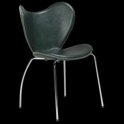 Chaise BUTTERFLY | Cuir Vert & Pieds Chromés